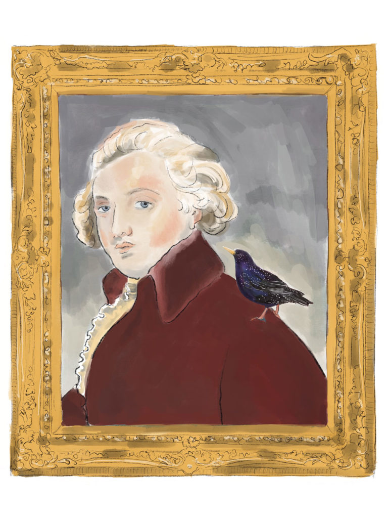 Illustration of an ornate framed portrait of a European man with white curled hair, red collared jacket and frilly ascot with a small black bird on his shoulder.