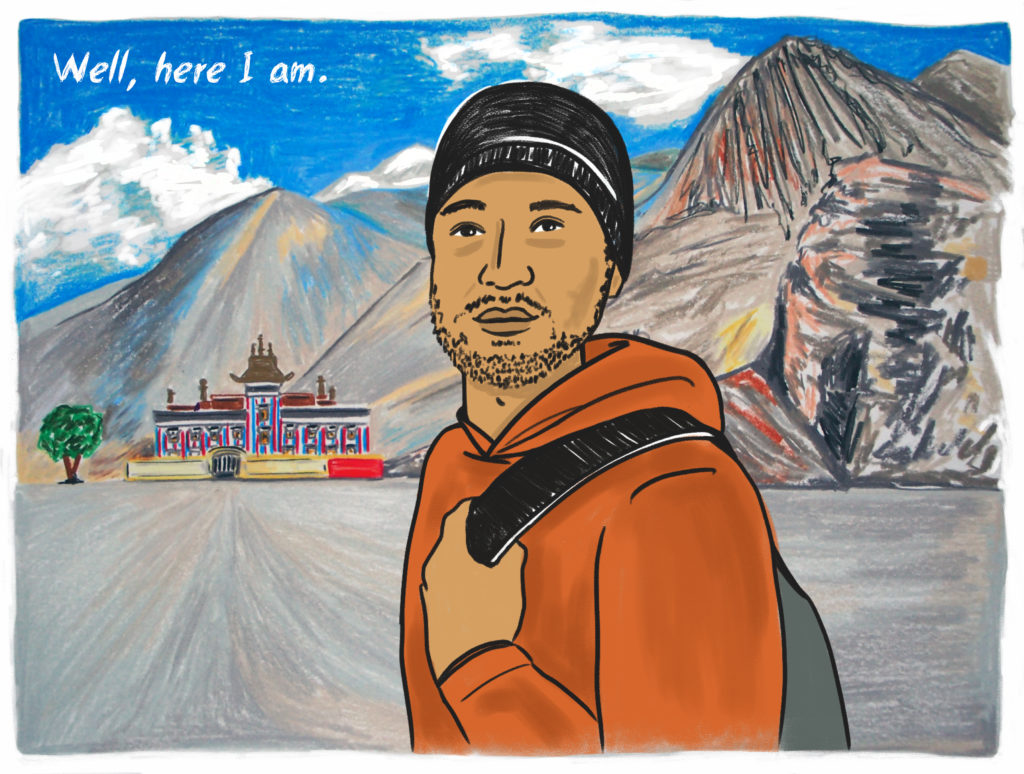 Illustration of a man with light brown skin and a hand on the strap of his backpack standing against a traditional Southeast Asian building in the distance, and a landscape of mountains.