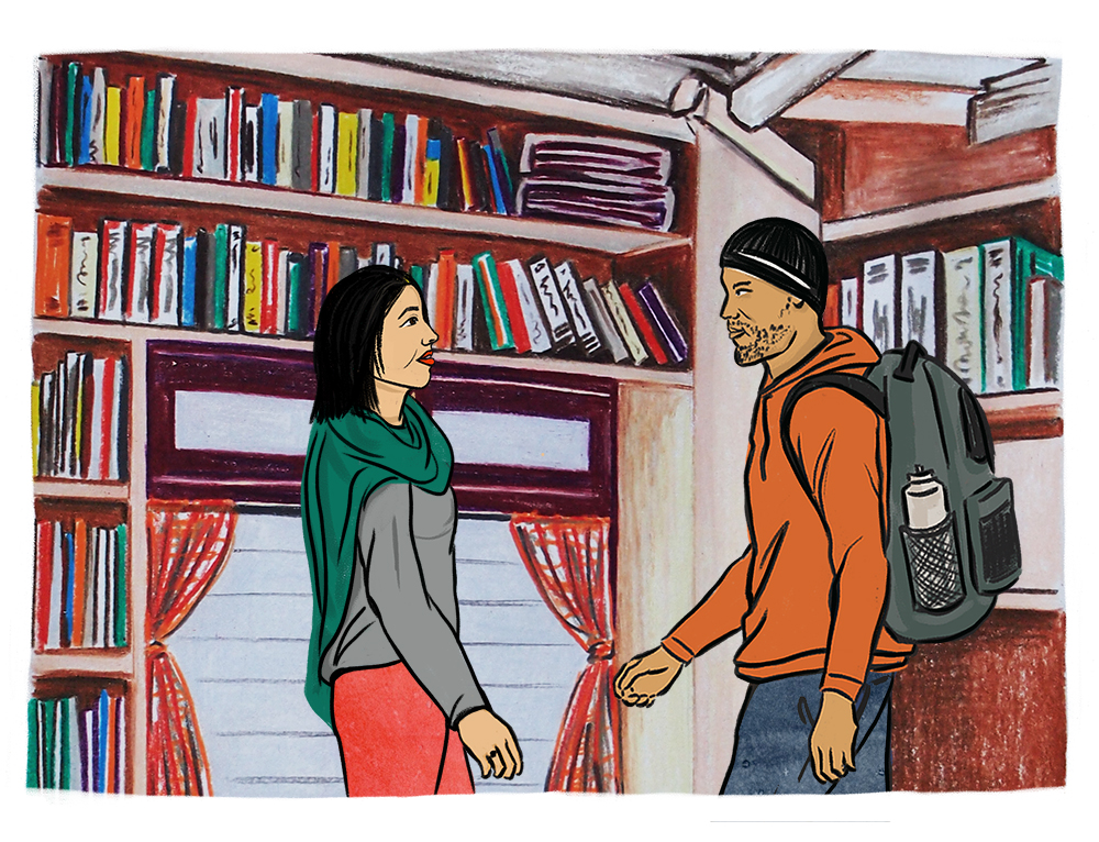 Illustration of a woman with light skin, dark hair and a green scarf and a man with light brown skin, a beanie, and a backpack facing each other in a room full of books.