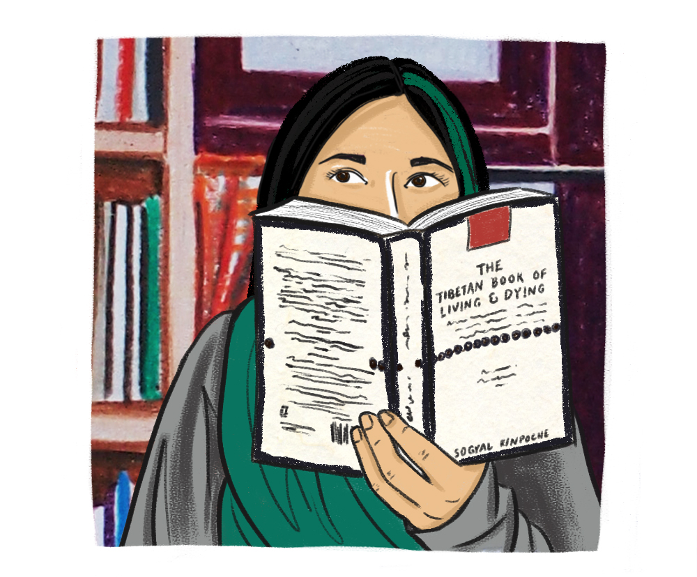 Illustration of a woman with light skin, dark hair with a green streak in it, holding up a book that covers 3/4s of her face.