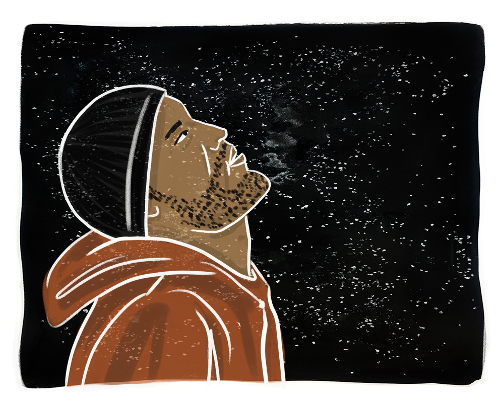 Illustration of a translucent man in profile with light brown skin, facial hair, black beanie and an orange hoodie facing right against a starry night sky.