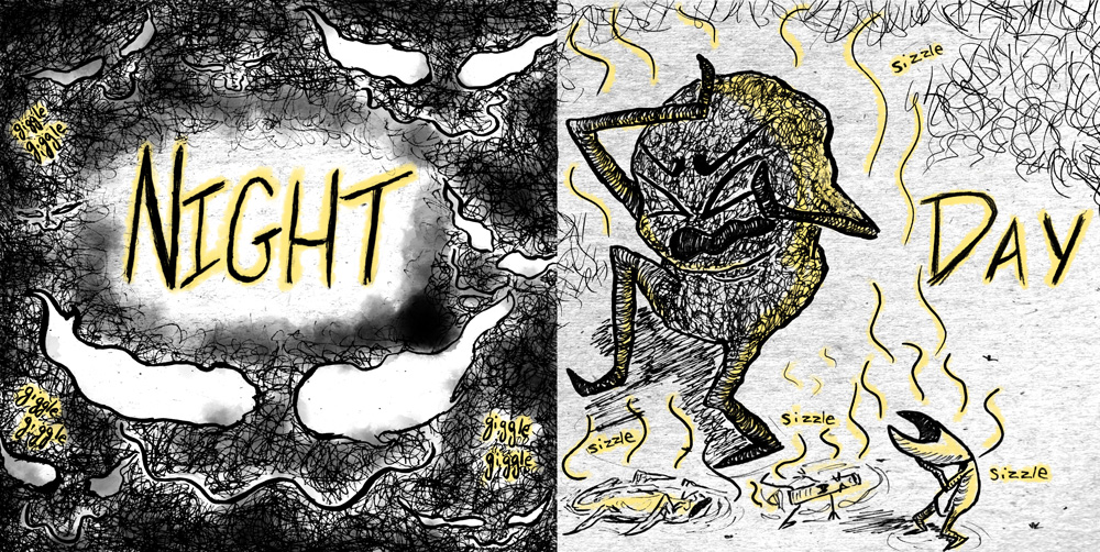 Two images, one labeled night shows multiple sets of glowing, wavy, pupil-less eyes in scribbly darkness, the other labeled day shows a dark scribbly figure making an expression of pain against a light background, other small creatures similarly in pain, with wavy lines coming off of their bodies.