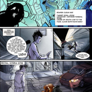 Comic page for a sci-fi/fantasy story, set in Korea, using a dark, muted color palette and rough lines.