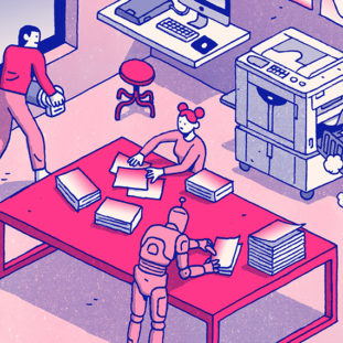 Blue and pink illustration of various people and one robot working in a room with risograph printers and a large table.