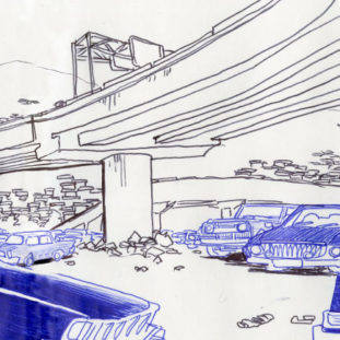 Black and blue pen drawing of some cars next to a building, beneath an elevated highway.
