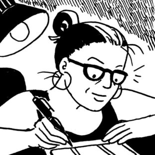 Drawing of a light shining behind a woman with glasses, hoop earrings and a bun while she writes something.