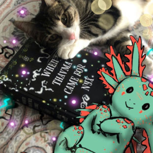 """An illustration of a green and red dragon-like creature drawn on top of a photograph of a cat with a book, """"When Thavma Came for Nyx."""""""