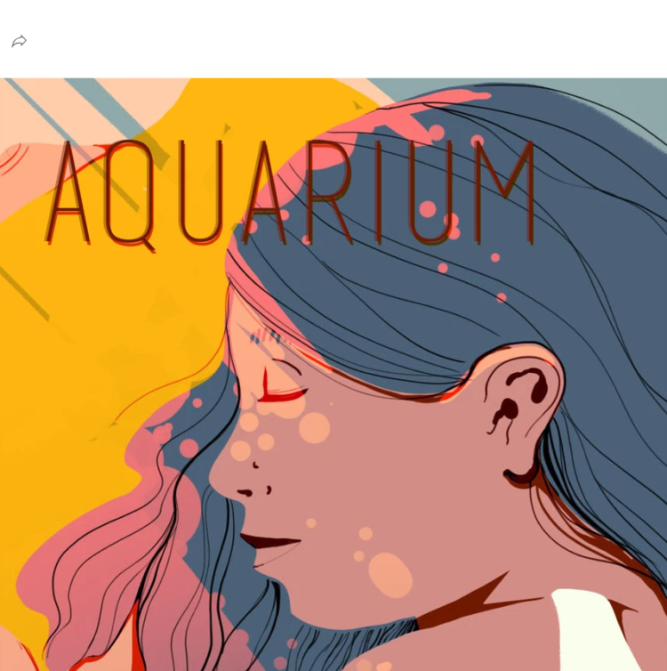 """Illustration of a brown skinned, dark haired woman with her eyes closed as warm light shines on her, the title across the top reads, """"AQUARIUM."""""""