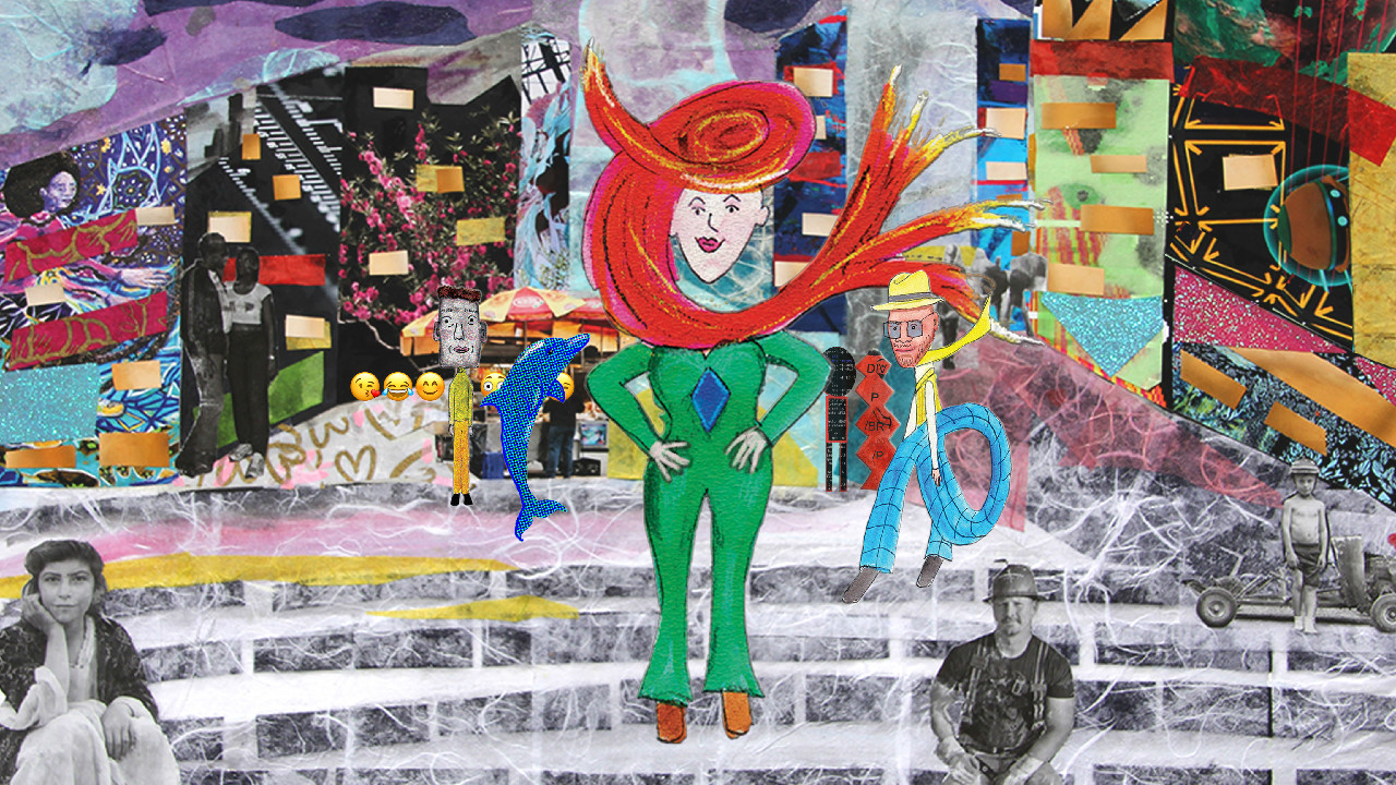 Obsolete No More, colorful collage of images, a drawing of a white woman in a green jumpsuit with swirly red hair stands at the center with her hands on her hips.