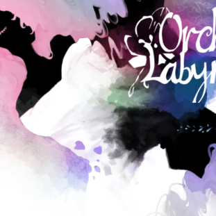 Orchid Labyrinth, title screen shows ethereal and washy pinks, purples and blues with figures interspersed among the colors.