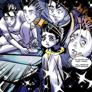 Illustration of five figures surrounded by sparkling stars and dynamic lines.