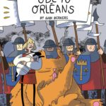 Ode to Orleans by Gabi Berkers, color illustration of medieval European soldiers, one in the foreground holding a lamb and a large orange cat licking itself behind them.