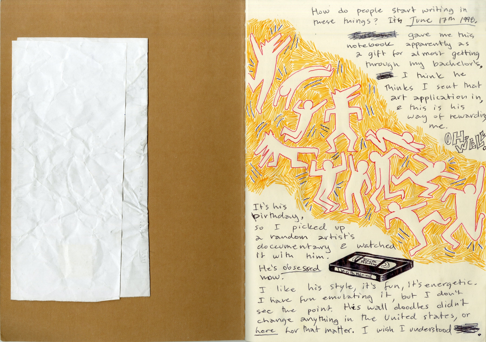 Ana Lozada Failed State, scan of an open notebook, the first page includes drawings of multiple figures in various poses against a yellow background and some text.