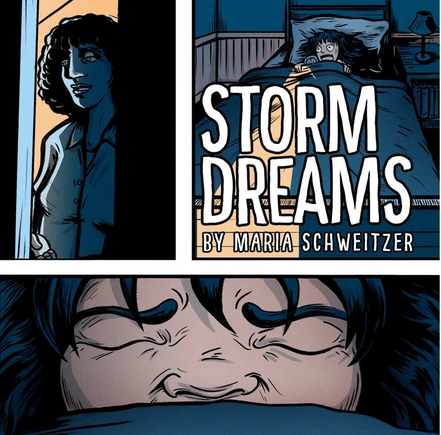 Storm Dreams by Maria Schweitzer, blue and orange comic panels of a woman opening a door to a child's bedroom while the child screams and appears distressed.