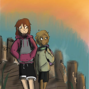 Illustration of two figures with backpacks against blue and orange background.