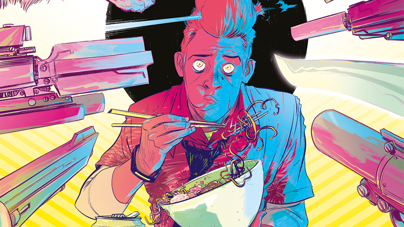 Colorful illustration of a man with a high pompadour eating noodles, surrounded by different weapons pointing at him.