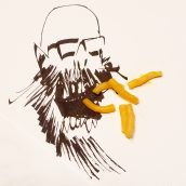 Yellow macaroni on top of an ink illustration of a bald head with glasses.
