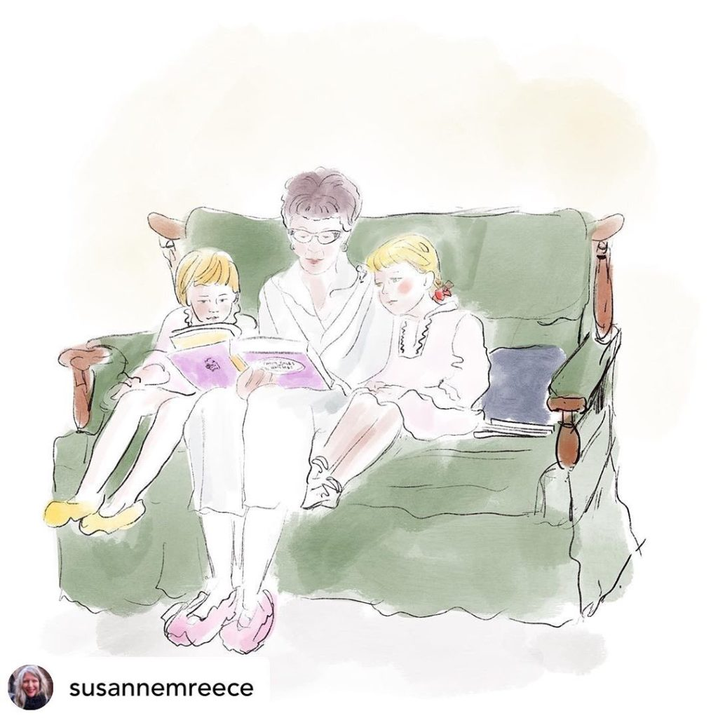 An illustration of an older white woman with short brown hair, glasses and a white dress reading to two small white children with blonde hair in white dresses on a green couch.