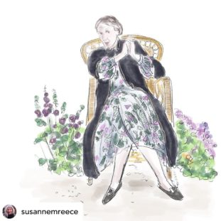 An illustration of Virginia Woolf clasping her hands, sitting in a wicker chair surrounded by purple flowers. She wears a black coat over a white dress with purple flowers and green leaves patterns.