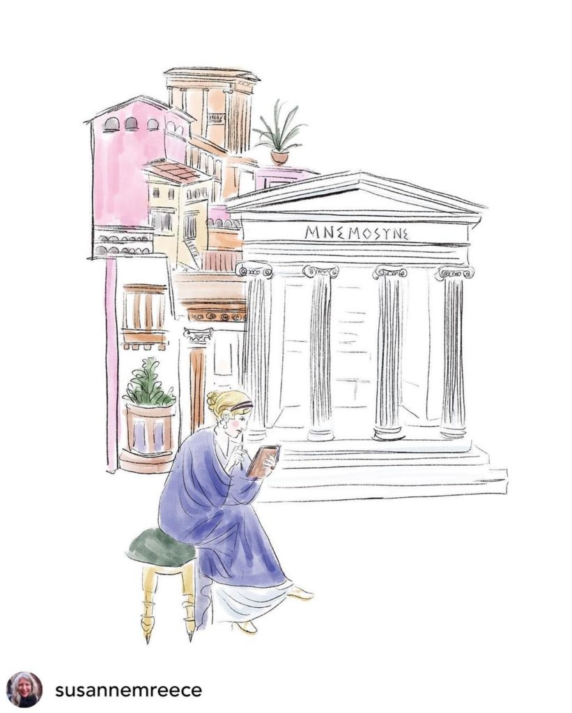 A white woman with blonde hair in blue robes sits in the foreground before a white building with four Greek pillars and a collage of smaller buildings on top of each other.