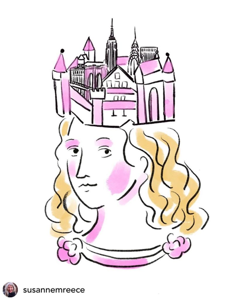 An illustration of a pink and white castle on top of the head of a white woman with wavy blond hair.