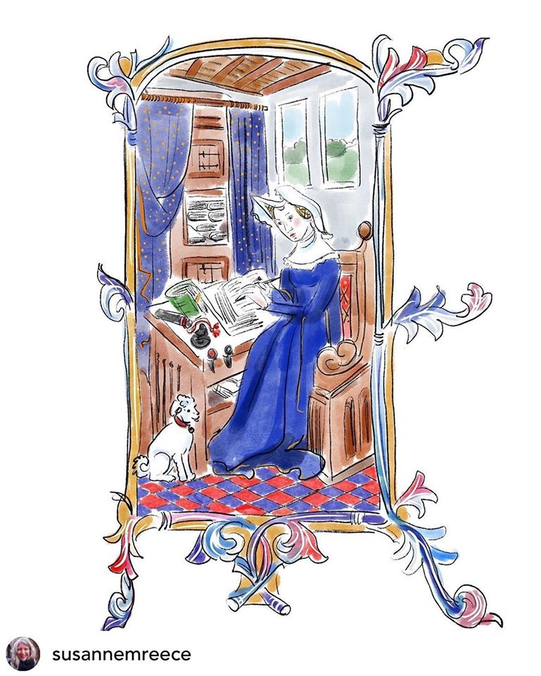 White woman in traditional European blue dress writing at a desk, accompanied by a small white dog, surrounded by an embellished frame.