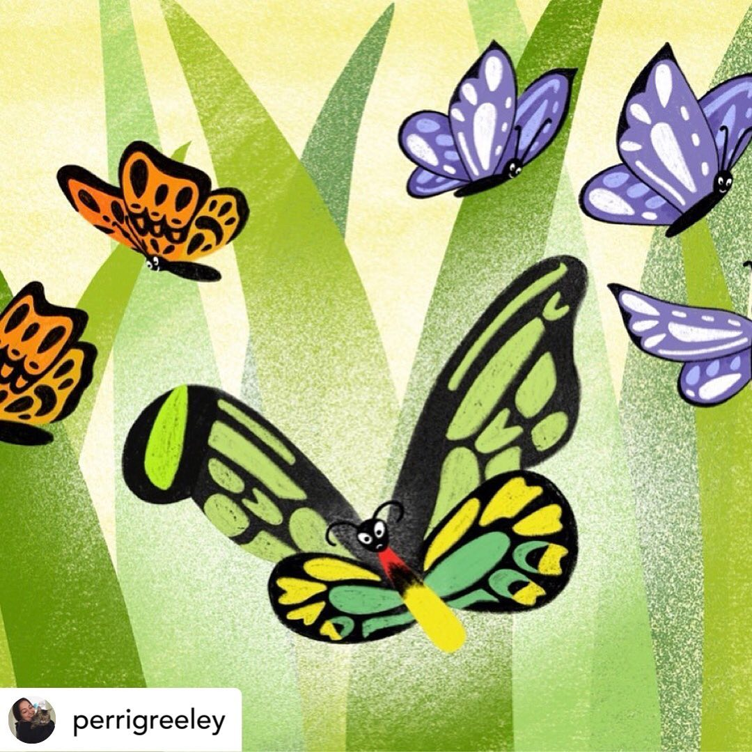 An illustration of a green, yellow and black patterned butterfly surrounded by two orange and black patterned butterflies and three purple and white patterned butterflies against large blades of green grass.