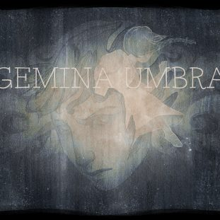 Main character from Gemina Umbra, a glowing figure emerging from a head against a washy gray background.