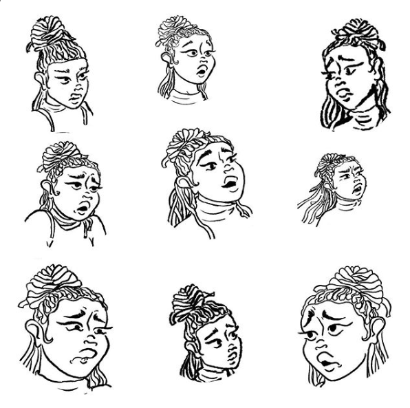 Nine illustrations depicting different expressions of a black woman with locs in a bun, wearing a turtleneck.