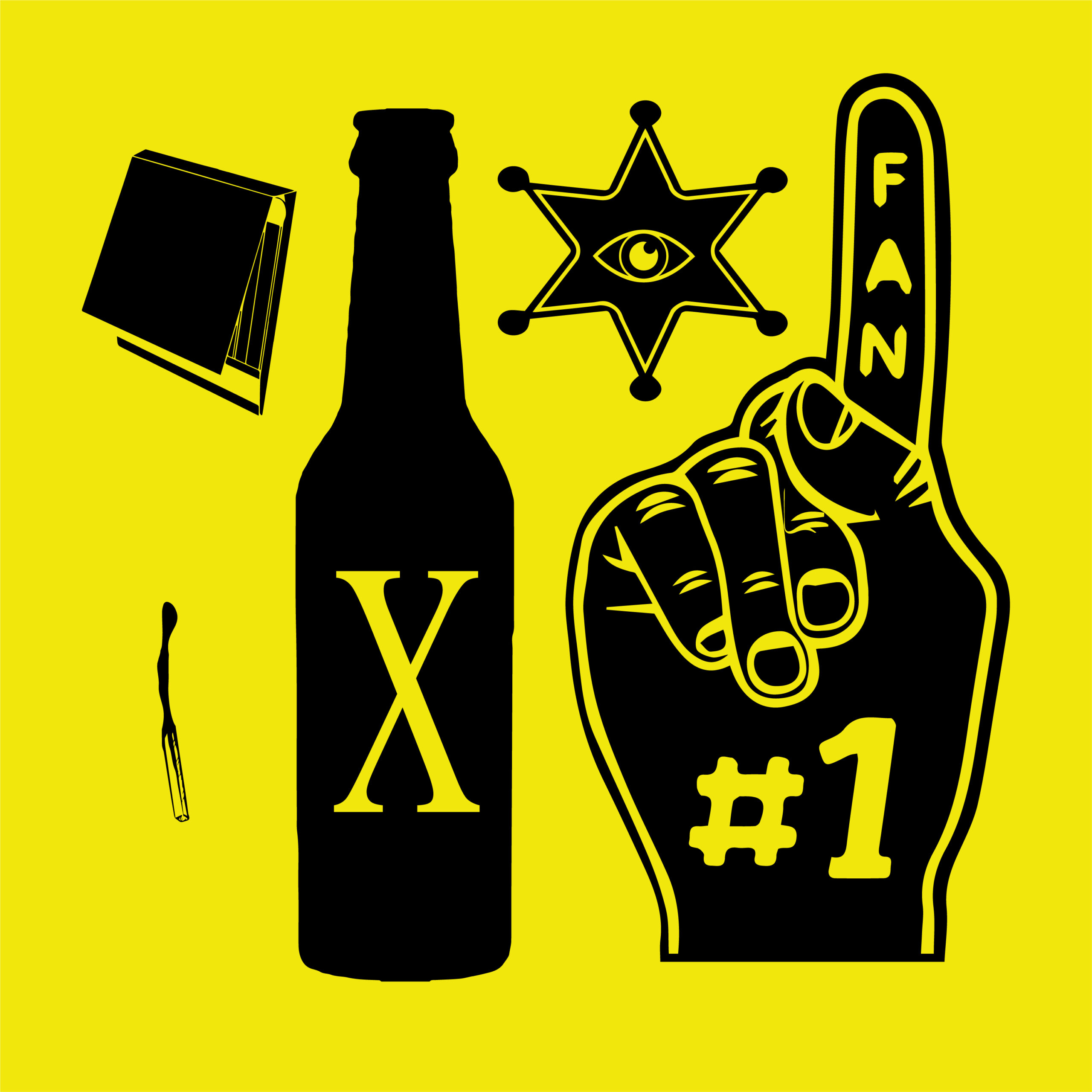 Black images of a bottle, a sports fan #1 hand, a sherrif's star on yellow background
