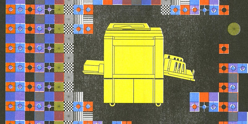 Risograph image of a Risograph printer by Lee Heesang