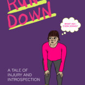 "Cover to story 'Run Down'. A woman bends over to grab her knees and asks, ""Why am I even doing this?"""
