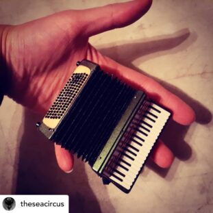 A hand holds a mini accordion
