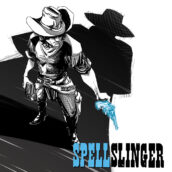 A cowboy holds a pistol with the shadow of another man looming over him ominously,.