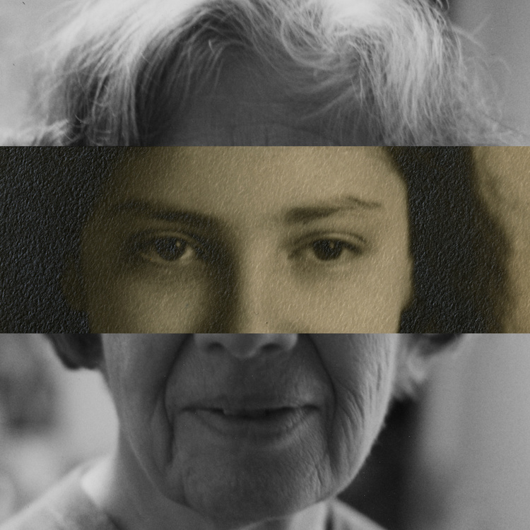 A triptych of photos in a horizontal position show the hair, nose and eyes, and chin of three women together as one face.