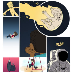 A page of a comic showing a boy sitting on a swing, falling through space and becoming a comet