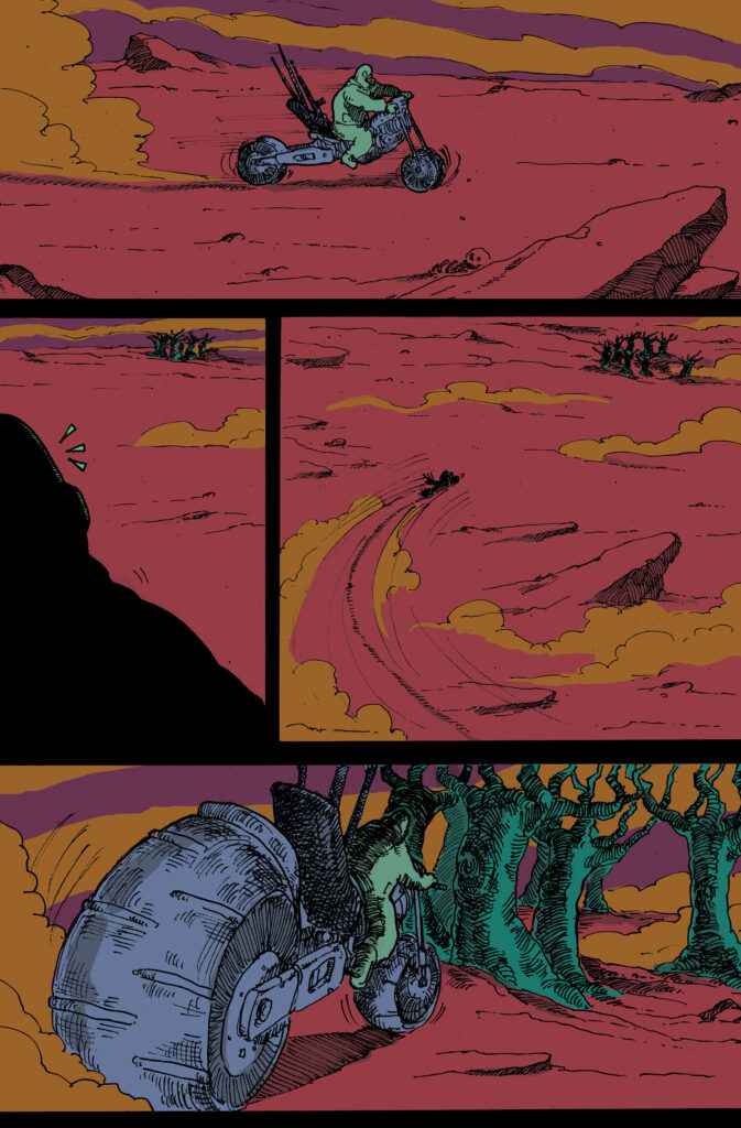 A comic page showing a man in a hazmat suit with a rifle on a motorcycle spotting a deer deeper in the forest.