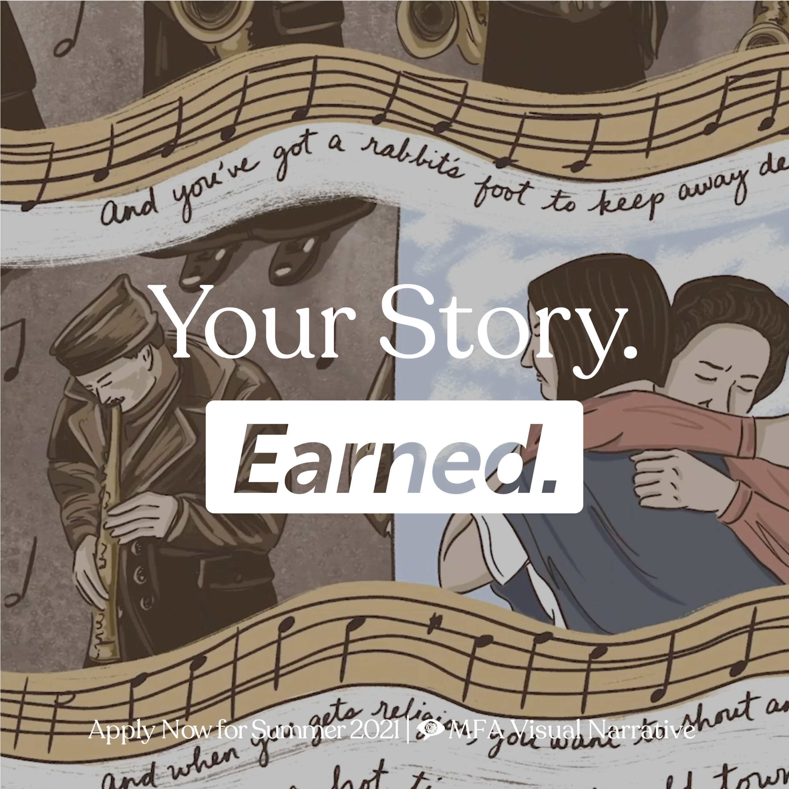 "Illustration with words Your Story Earned"" and a backdrop of people embracing amongst a musical staff with notes dancing across the image."