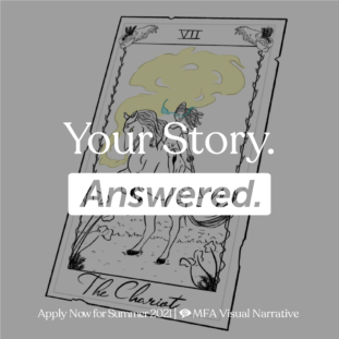 "Illustration by V.A. Doll of a tarot card with the words ""Your Story Answered"""