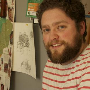 Bio pic of Simon Roy, comic book storyteller