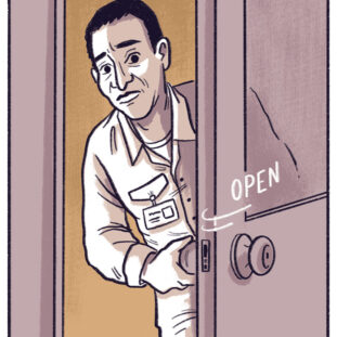 Illustration of a man opening a door cautiously and peeking around it into a room with a worried look on his face.