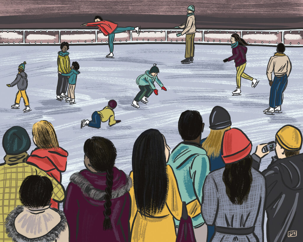 Illustration of people skating on an ice rink in distance while in the foreground people look on holding cameras and children.