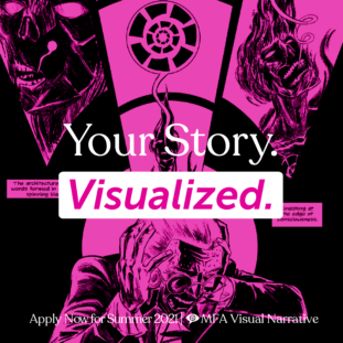 Text reads 'Your Story. Visualized' with a pink-heavy illustration in the background of a man screaming in pain, covering his ears, surrounded by imagery from memory that terrifies him.