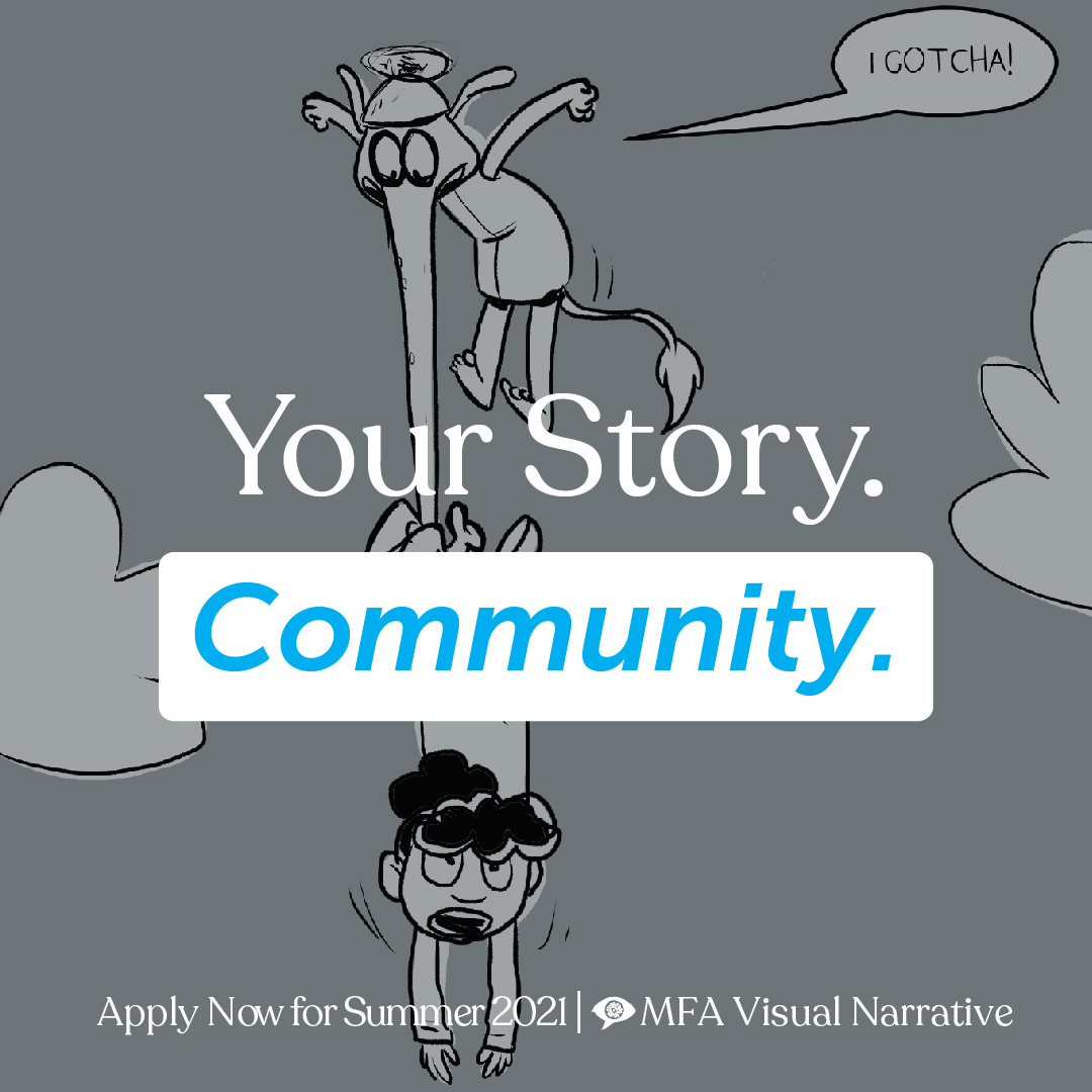 Text says 'Your Story. Community.' Illustration in the background shows a little girls hanging in the air, held aloft by a small flying creature with an elephant trunk wrapped around her ankle.