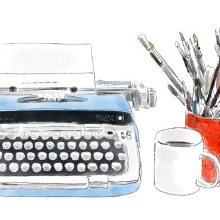 An illustration of a typewriter, a cup of coffee, and a mug of brushes by Susanne Reece ('20)