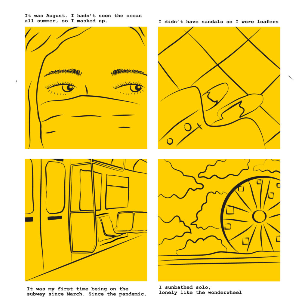 Four yellow comic book panels show a masked woman watching a bus pull up to the curb