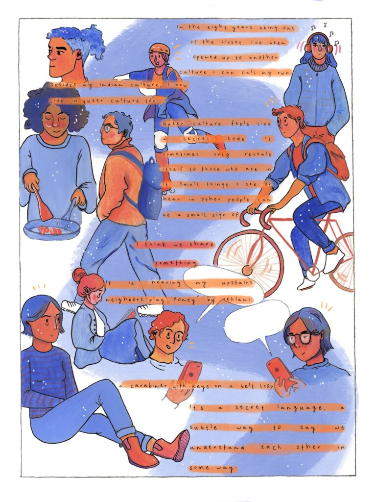 A montage comic book page with a woman on a bike, in repose, and other poses.