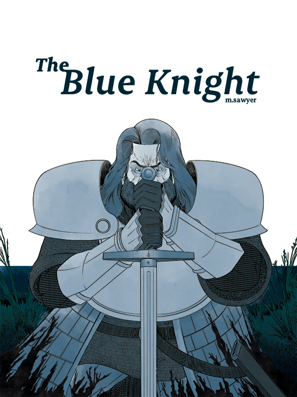 A knight covered in blue kneels before us