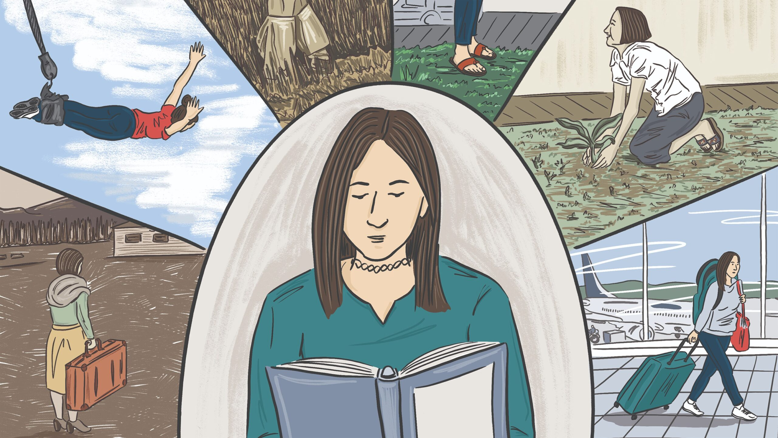Illustration of a woman reading a book and surrounded by snippets of the historical events in its pages.