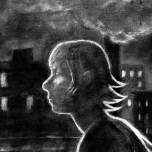 Black and white illustration of a woman's profile as she walks through a city, the lit windows of many apartments in the distance, and a cloudy sky above.